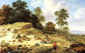 Картинка пейзаж, картина, Ян Вейнантс, Jan Wijnants, Дорога у Дюн с Крестьянами и Всадником