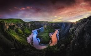 Картинка небо, солнце, облака, свет, горы, река, скалы, вечер, утро