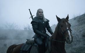 Картинка взгляд, конь, меч, мужчина, Ведьмак, The Witcher, Геральт, Henry Cavill, Netflix