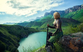 Картинка девушка, меч, доспехи, воин, Дарья Лефлер