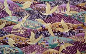 Картинка пейзаж, птицы, фон, узоры, рисунок, текстура, ткань, текстиль