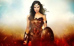 Картинка взгляд, девушка, фон, доспехи, щит, Wonder Woman 1984, Чудо-женщина: 1984