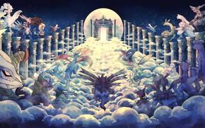 Картинка путь, аниме, арт, колонны, pokemon, покемоны