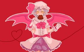 Картинка розовый фон, remilia scarlet, желтые глаза, вампирша, valentine`s day, злобный взгляд, проект Восток, крылья летучей …