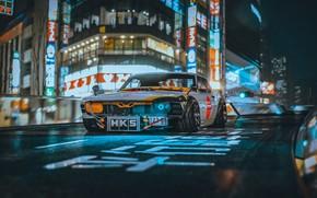 Картинка Mustang, Город, Япония, Ретро, Машина, Тюнинг, City, Car, Ford Mustang, Night, Рендеринг, Concept Art, Science …