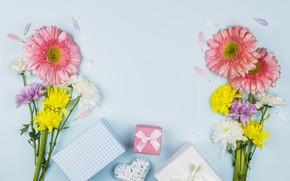 Картинка цветы, подарки, сердечко, поздравление, букеты, День матери