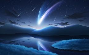 Картинка небо, вода, горы, природа, фэнтези, комета, падающие звезды