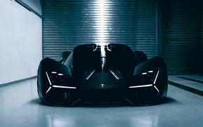 Картинка свет, Lamborghini, вид спереди, боксы, 2017, Terzo Millennio Concept