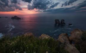 Картинка море, трава, закат, скалы, побережье, Испания, Spain, Costa Quebrada, Бискайский залив, Cantabria, Кантабрия, Bay of …