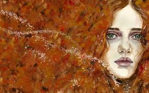 Картинка осень, взгляд, девушка, абстракция, лицо, мазки