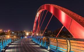 Картинка ночь, город, Rainbow bridge