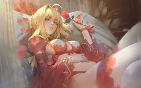 Картинка чулки, лепестки, красная роза, нижнее бельё, на постели, art, колени, зеленые глаза, Saber, красный бант, …