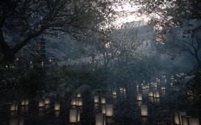 Картинка деревья, река, пагода, фонарики