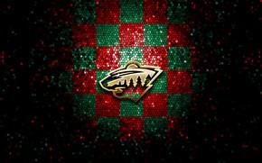 Картинка wallpaper, sport, logo, NHL, Minnesota Wild, hockey, glitter, checkered