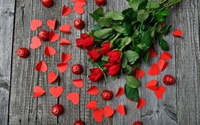 Картинка розы, букет, конфеты
