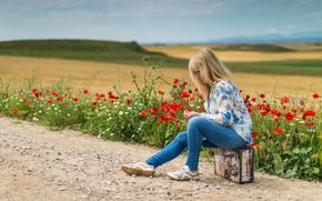 Картинка дорога, поле, лето, девушка, цветы, настроение, холмы, женщина, маки, джинсы, блондинка, чемодан, сидит, автостоп, маковое …