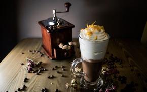 Обои кофе, сливки, мороженое, десерт, wood, кофейные зёрна, кофемолка, гляссе