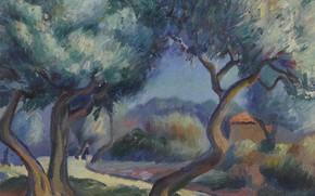 Картинка пейзаж, картина, Kenneth Miller Adams, Кеннет Миллер Адамс, Фигуры по Дороге Домой