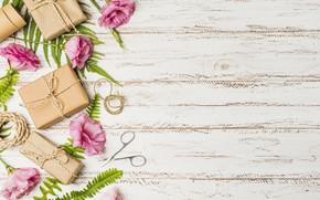 Картинка цветы, подарок, розовые, pink, flowers, эустома, gift box, eustoma