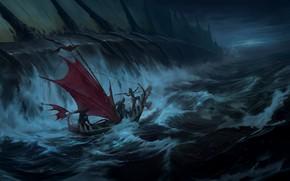 Картинка вода, люди, лодка, охота, рыбина, Legends of Runeterra