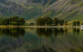 Картинка деревья, горы, озеро, Англия, домик, Buttermere, Allerdale District