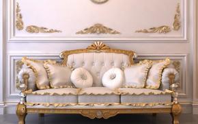 Картинка диван, интерьер, подушки, гостиная
