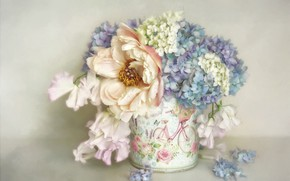 Картинка цветы, фон, букет, голубые, арт, горшок, белые, живопись, подставка, сиреневые, пион, гортензия