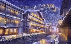 Обои Ночь, Снег, Пейзаж, Улица, Горы, Зима, Город