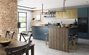 Картинка дизайн, стиль, интерьер, кухня, столовая, dark blue painted brass kitchen