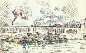 Картинка рисунок, акварель, 1927, Поль Синьяк, Paul Signac, The Viaduct and Mouche Bridge at Auteuil