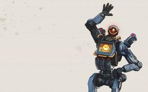 Картинка fantasy, game, robot, minimalism, sci-fi, Pathfinder, digital art, futuristic, simple background, saluting, emoticons, Apex Legends