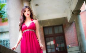 Картинка девушка, секси, платье, азиатка