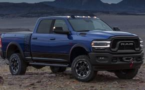 Картинка машина, пустыня, фары, Додж, Dodge, сбоку, синяя, пикап, blue, колёса, Hemi, Power Wagon, Dodge Ram, ...