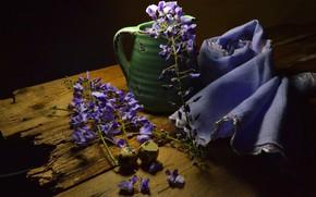 Картинка цветы, зеленый, доски, яйца, полотенце, ткань, кувшин, черный фон, натюрморт, скорлупа, соцветия, сиреневые, композиция, перепелиные, …