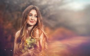 Картинка взгляд, девушка, цветы, волосы, портрет, размытие, боке, Вадим Мельник