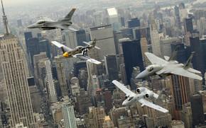 Картинка город, Нью-Йорк, самолеты, парад