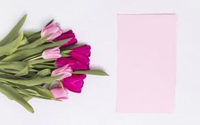 Картинка букет, тюльпаны, розовые