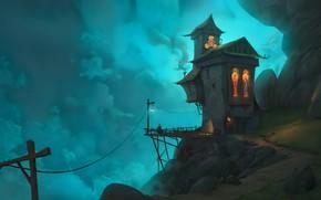 Картинка fantasy, figure, evening, waterfall, digital art, artwork, fantasy art, lantern, person, path, cliff, Cottage, fantasy …