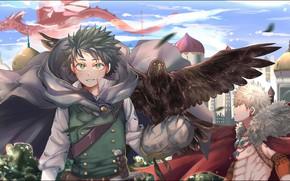 Обои птица, Boku no Hero Academia, Мидория Изуку, Моя геройская акадеимя, Бакуго Катсуки, Изуку Мидория