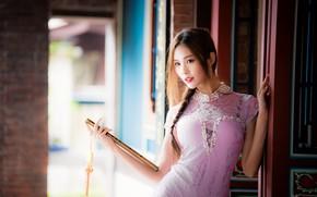 Картинка девушка, веер, азиатка, милашка