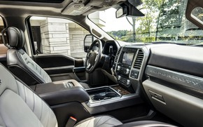 Картинка Ford, интерьер, салон, пикап, 4x4, 2018, 440 л.с., Super Duty, F-450, Limited, V8, 6.7 л., …
