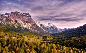 Картинка осень, лес, небо, деревья, горы, дома