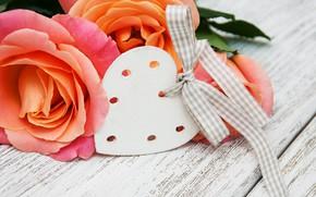 Картинка цветы, сердце, розы, love, heart, wood, pink, romantic, roses