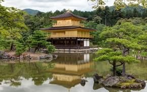 Картинка озеро, парк, замок, Япония, островок, Киото