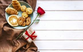 Картинка любовь, подарок, розы, завтрак, красные, red, love, heart, выпечка, romantic, valentine's day, круассаны, croissant, breakfast, …