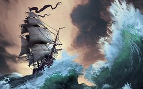 Картинка waves, fantasy, storm, pirate ship, artist, ship, digital art, artwork, fantasy art, sails, sailing ship, …