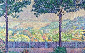 Картинка пейзаж, картина, 1899, Поль Синьяк, пуантилизм, Paul Signac, Terrace of Meudon