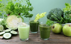 Картинка зелень, стол, яблоки, стаканы, фрукты, напитки, овощи, капуста, петрушка, огурцы, салат, смузи