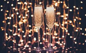 Картинка свет, праздник, бокалы, алкоголь, шампанское