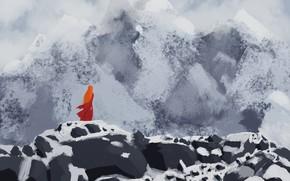 Картинка Девушка, Горы, красное платье, девушка в горах